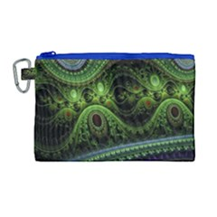 Fractal Green Gears Fantasy Canvas Cosmetic Bag (large) by Celenk