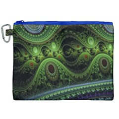 Fractal Green Gears Fantasy Canvas Cosmetic Bag (xxl) by Celenk
