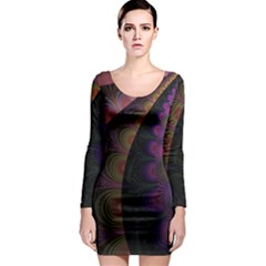 Fractal Colorful Pattern Spiral Long Sleeve Bodycon Dress by Celenk