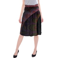 Fractal Colorful Pattern Spiral Midi Beach Skirt