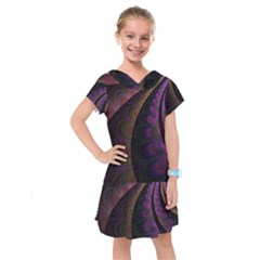 Fractal Colorful Pattern Spiral Kids  Drop Waist Dress