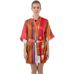 Abstract Background Pattern Textile Quarter Sleeve Kimono Robe