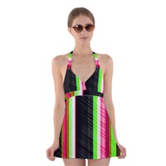 Abstract Background Pattern Textile Halter Dress Swimsuit  by Celenk