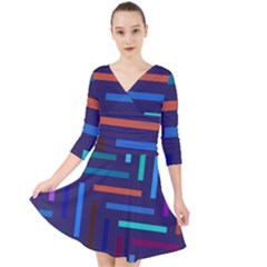 Lines Line Background Abstract Quarter Sleeve Front Wrap Dress