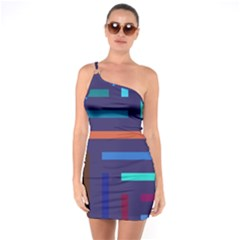 Lines Line Background Abstract One Soulder Bodycon Dress