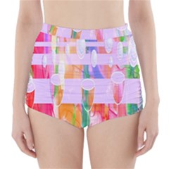Watercolour Paint Dripping Ink High-waisted Bikini Bottoms by Celenk