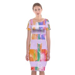 Watercolour Paint Dripping Ink Classic Short Sleeve Midi Dress by Celenk