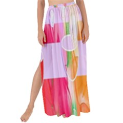 Watercolour Paint Dripping Ink Maxi Chiffon Tie-up Sarong by Celenk