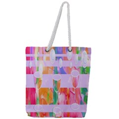 Watercolour Paint Dripping Ink Full Print Rope Handle Tote (large)