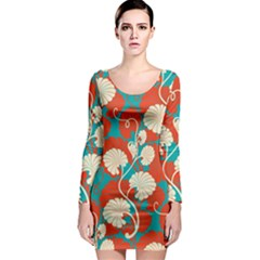 Floral Asian Vintage Pattern Long Sleeve Bodycon Dress by 8fugoso
