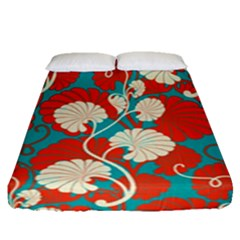 Floral Asian Vintage Pattern Fitted Sheet (queen Size) by 8fugoso