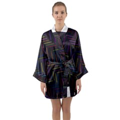 Lines Line Background Long Sleeve Kimono Robe