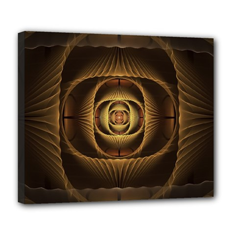 Fractal Copper Amber Abstract Deluxe Canvas 24  X 20   by Celenk