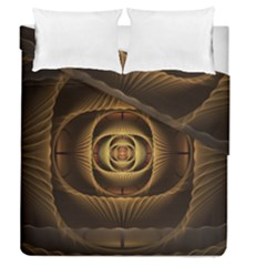 Fractal Copper Amber Abstract Duvet Cover Double Side (queen Size) by Celenk