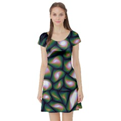 Fuzzy Abstract Art Urban Fragments Short Sleeve Skater Dress