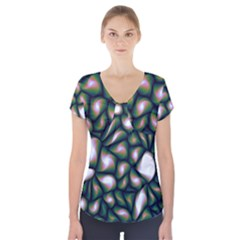 Fuzzy Abstract Art Urban Fragments Short Sleeve Front Detail Top