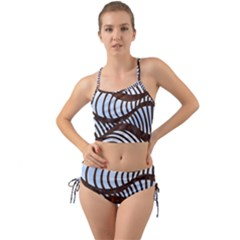 Grid Sky Pattern Blue Industrial Mini Tank Bikini Set