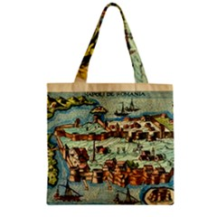 Medeival Ancient Map Fortress Zipper Grocery Tote Bag