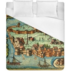 Medeival Ancient Map Fortress Duvet Cover (california King Size)