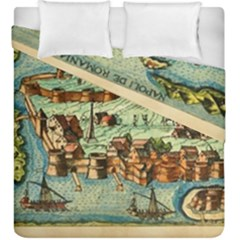 Medeival Ancient Map Fortress Duvet Cover Double Side (king Size)