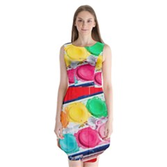 Palette Brush Paint Box Color Sleeveless Chiffon Dress