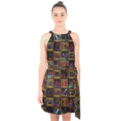 Kaleidoscope Pattern Abstract Art Halter Collar Waist Tie Chiffon Dress by Celenk