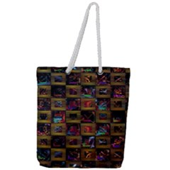 Kaleidoscope Pattern Abstract Art Full Print Rope Handle Tote (large) by Celenk