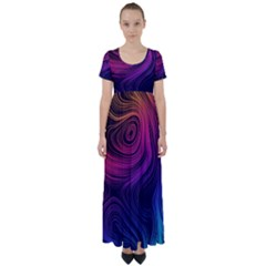 Abstract Pattern Art Wallpaper High Waist Short Sleeve Maxi Dress