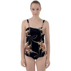 Fractal Art Design Pattern Texture Twist Front Tankini Set