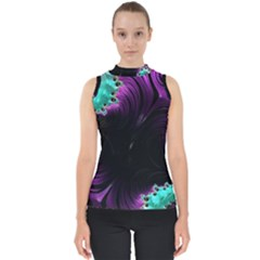 Fractals Spirals Black Colorful Shell Top