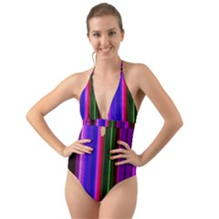 Abstract Background Pattern Textile 4 Halter Cut Out One Piece Swimsuit