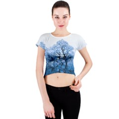 Nature Inspiration Trees Blue Crew Neck Crop Top