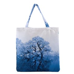 Nature Inspiration Trees Blue Grocery Tote Bag by Celenk