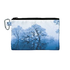 Nature Inspiration Trees Blue Canvas Cosmetic Bag (medium)