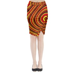 Fractal Art Mathematics Generated Midi Wrap Pencil Skirt