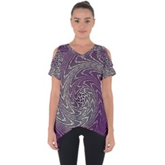 Graphic Abstract Lines Wave Art Cut Out Side Drop Tee