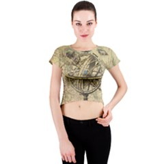 Map Compass Nautical Vintage Crew Neck Crop Top