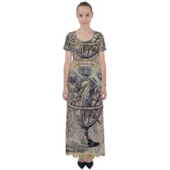 Map Compass Nautical Vintage High Waist Short Sleeve Maxi Dress