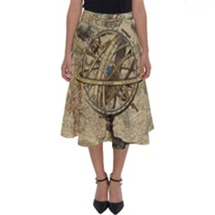 Map Compass Nautical Vintage Perfect Length Midi Skirt