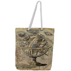 Map Compass Nautical Vintage Full Print Rope Handle Tote (large)