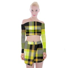 Tartan Abstract Background Pattern Textile 5 Off Shoulder Top With Mini Skirt Set by Celenk