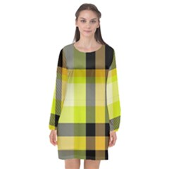 Tartan Abstract Background Pattern Textile 5 Long Sleeve Chiffon Shift Dress  by Celenk