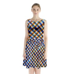 Kaleidoscope Pattern Ornament Sleeveless Waist Tie Chiffon Dress by Celenk