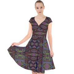 Pattern Abstract Art Decoration Cap Sleeve Front Wrap Midi Dress