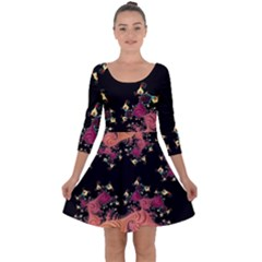 Fractal Fantasy Art Design Swirl Quarter Sleeve Skater Dress by Celenk