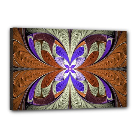 Fractal Splits Silver Gold Canvas 18  X 12  by Celenk