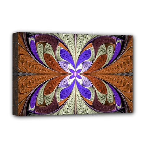 Fractal Splits Silver Gold Deluxe Canvas 18  X 12   by Celenk