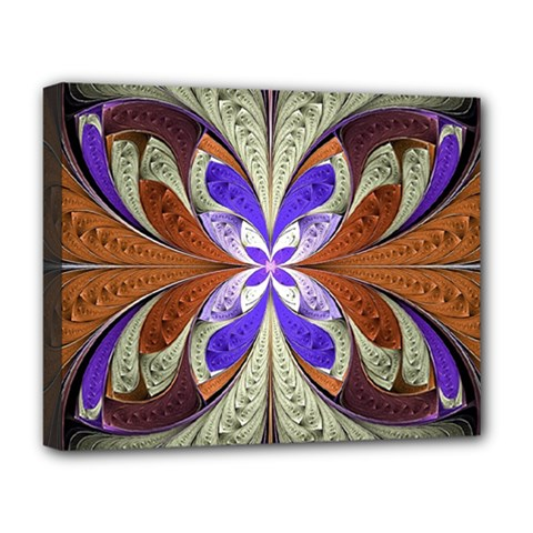 Fractal Splits Silver Gold Deluxe Canvas 20  X 16   by Celenk