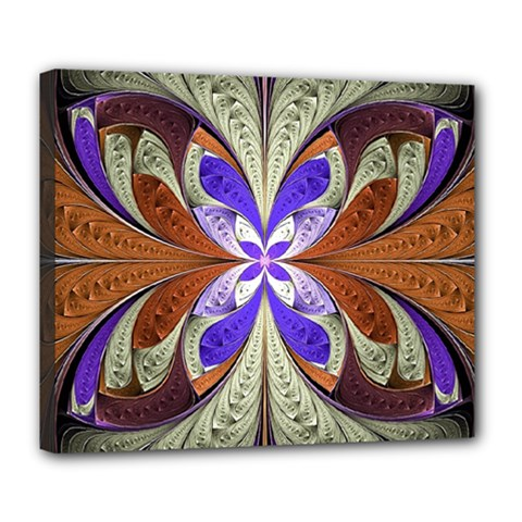 Fractal Splits Silver Gold Deluxe Canvas 24  X 20   by Celenk