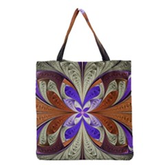 Fractal Splits Silver Gold Grocery Tote Bag by Celenk